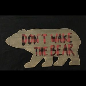 Wall Art - Don't Wake the Bear Red Plaid Wooden Sign Plaque